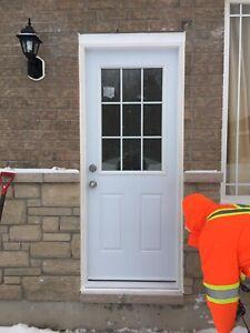 Basement entrance door and window cutting