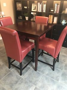 Dining table and 4 chairs (counter height)
