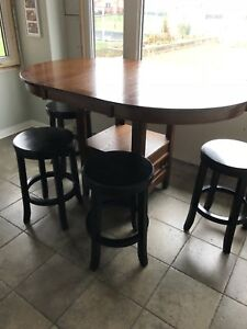 "Round counter height table with one 12"" leaf"