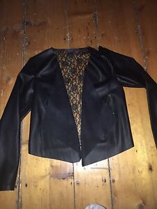 SIZE SMALL FAUX LEATHER BLAZER WITH LACE BACK