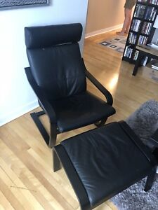 Ikea Poang leather chair with leather ottoman