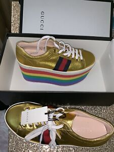 Gucci Peggy metallic platform sneakers