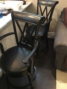 Black wood/leather bar height stools 2 or 3