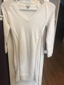 GUESS white sweater dress, tight fitted, size xs
