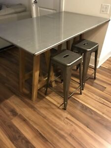 High Top table - Stainless Steel High Table with Oak legs