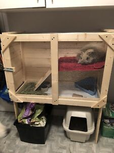 Wooden homemade rabbit cage