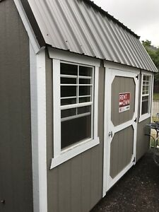 Shed - 8'x12' Side Lofted Barn with 2 windows and white trim