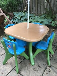 Kids plastic patio : picnic table with umbrella and chairs