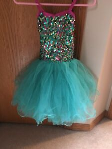 Aqua sequin and tulle dance/ballet costume size SC