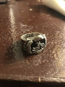 "Men's Motorcycle ""Ride Hard, Live Free"" .925 Silver ring"