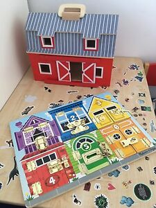 Melissa and Doug farm house and lock board