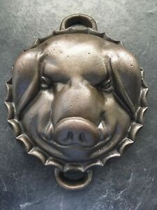 Vintage Cast Iron Pigs Head Mold