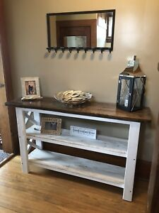 Rustic X hall table
