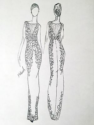 ARTIST ORIGINAL FASHION SKETCH ILLUSTRATION PENCIL Drawing Haut Couture