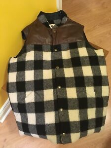 New Tuck Shop Trading co Down Fill Wool Leather Cabin Vest.