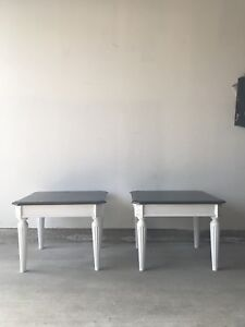 Two Refinished Solid Wood End Tables