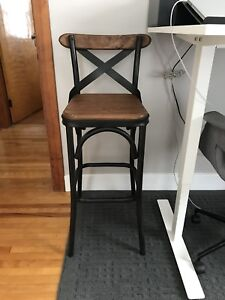 Two (2) bar stools, wood and steel/metal, rustic/modern