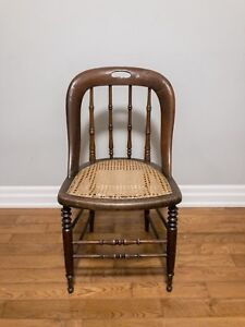Wooden chair vintage cane chair