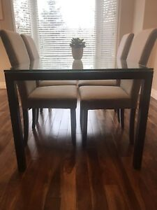 Crate & Barrel Glass Dining Table