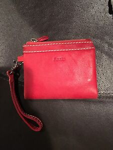 Roots Red leather Wristlet