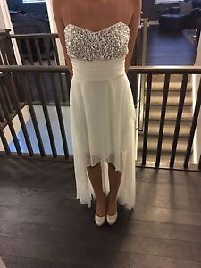 Wedding or Prom formal dress small med white hi low