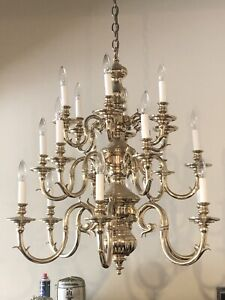 Large Solid Brass Chandelier.