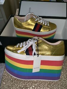 ffec2e801ba Gucci - Peggy Metallic Leather Platform Sneakers