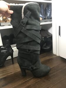 All Saints black suede boots with shearling liner