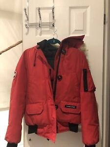 Red Canada Goose Bomber Jacket - SMALL