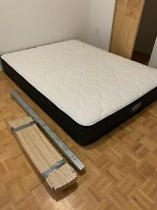Rarely used queen Simmons mattress + ikea malm bed slats