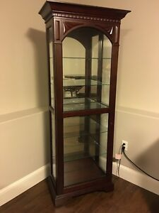 Solid Wood and Glass  Curio Cabinet w sliding door access