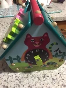 KIDS EDUCATIONAL WOODEN HOUSE + SHAPE + CLOCK FOR EARLY LEARNING