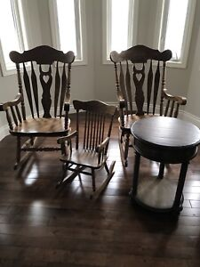 Three rocking chairs and end table