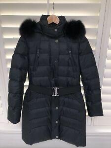 Burberry Fox Fur Trim Puffer Coat 100% Authentic Size Medium