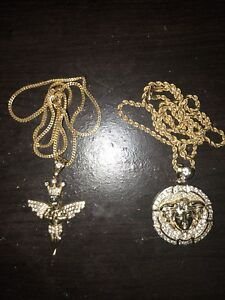 """22"""" Franco and 24"""" rope chain with angel pendant and medusa"""