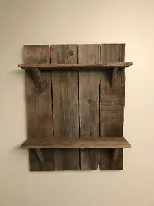 Custom made barnboard shelf