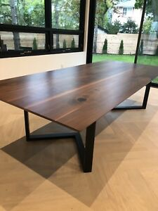 "Brand new Large custom walnut ""infinity edge"" dining table"