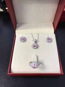 Sterling Silver / Pink gemstone Earring,Necklace, Pendant set