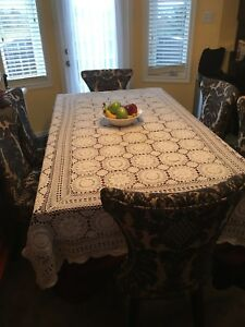 Hand crochet cotton tablecloth