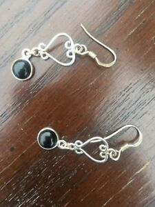 Silver and onyx heart earrings