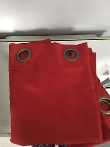 2 Red Curtain Panels