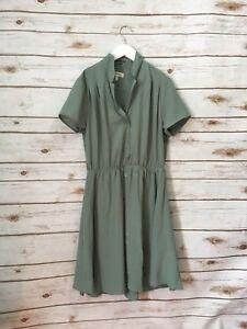 NWT Monteau Los Angeles Shirt Dress Olive Green Size M