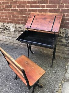 Vintage desk and matching chair