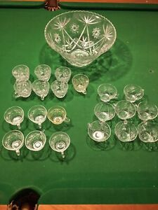 Glass punch bowl with 21 glasses