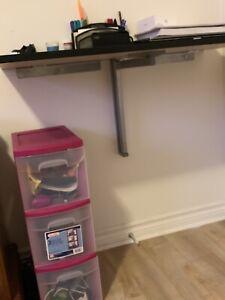 Wall mounted fold down desk