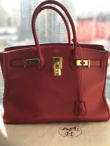 HERMES BIRKIN / RED /GOLD