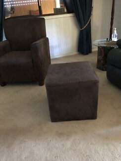 Brown suede leather chair & ottoman