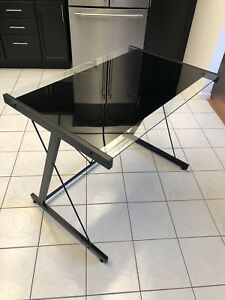 Modern Black Tempered Glass Computer Table