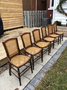 6x vintage cane dining chairs