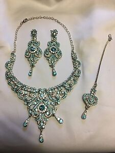 Silver and Blue Jewelry Set